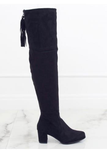 Semišové dámské kozačky nad kolena černé barvy na nízkém podpatku