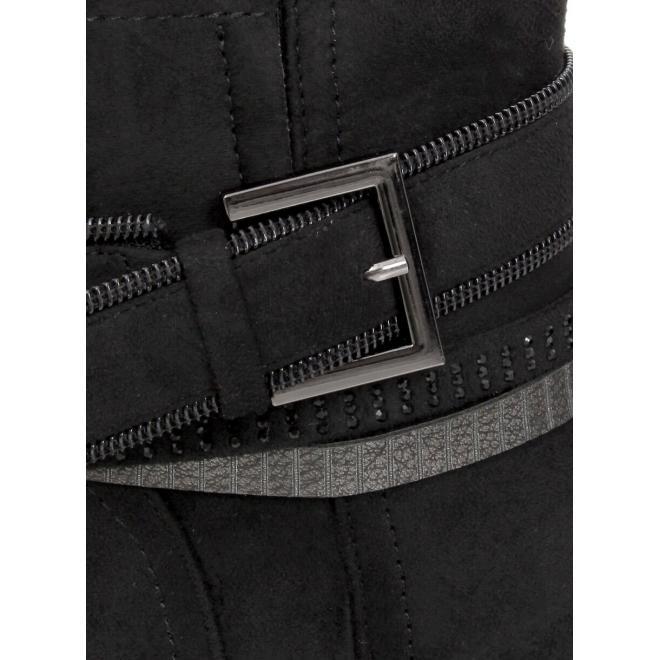 Černé elegantní kozačky na stabilním podpatku pro dámy