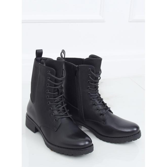 Šněrovací dámské Workery černé barvy s plochým podpatkem