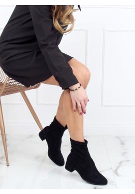 Semišové dámské boty černé barvy se širokým podpatkem