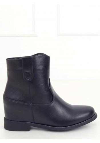 Dámské podzimní boty na skrytém podpatku v černé barvě