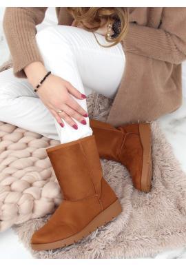Semišové dámské sněhule hnědé barvy s vysokou podrážkou