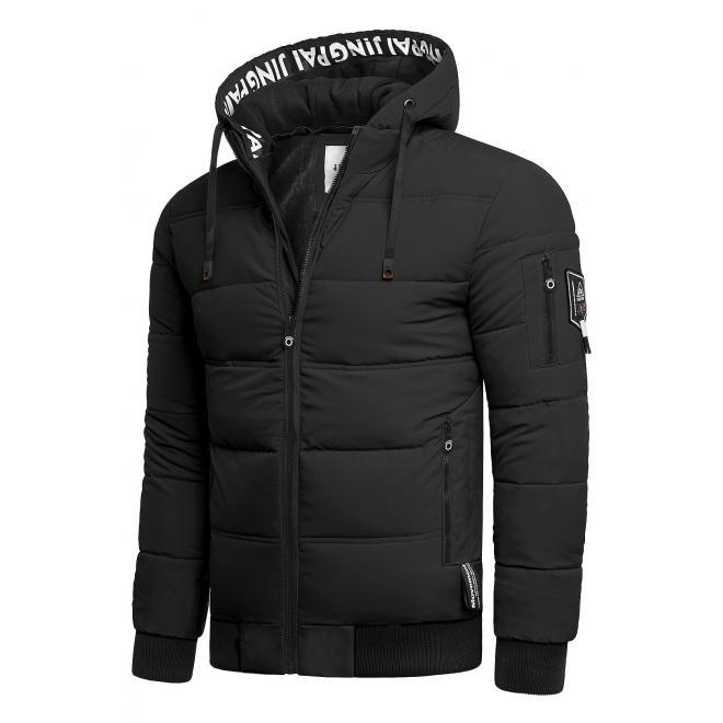 Pánská teplá bunda na zimu v černé barvě
