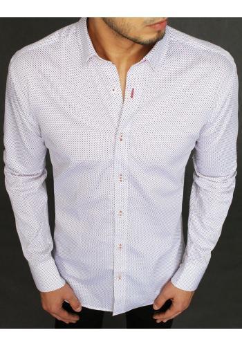 Bavlněná pánská košile bílé barvy se vzorem v akci