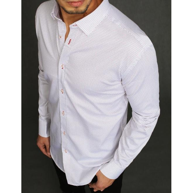 Bavlněná pánská košile bílé barvy se vzorem