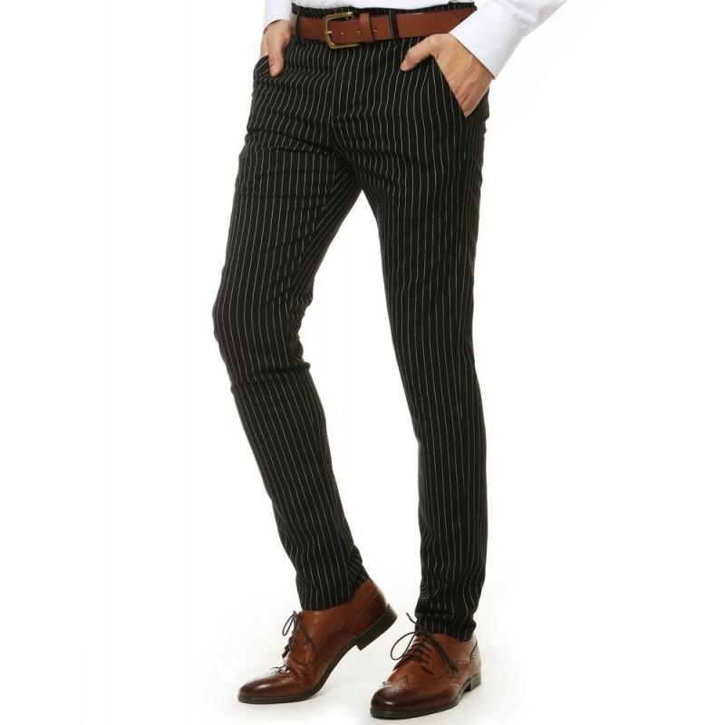 Černé proužkované kalhoty pro pány
