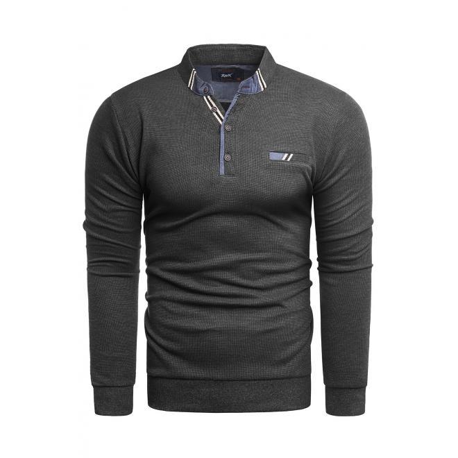 Módní pánský svetr tmavě šedé barvy se zapínaným výstřihem