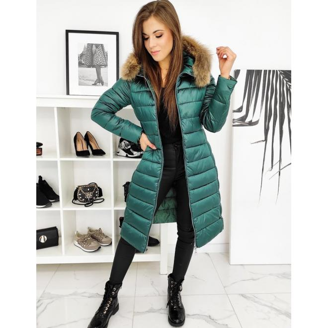 Dlouhá prošívaná dámská bunda zelené barvy s páskem