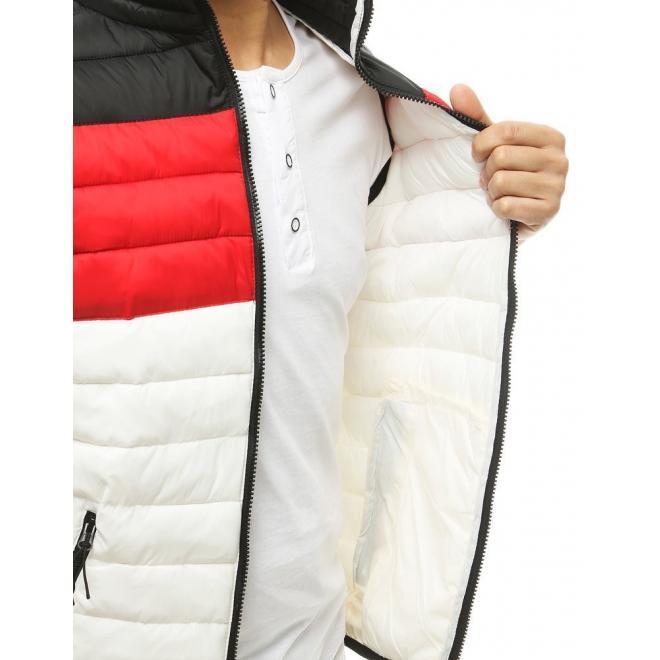Prošívaná pánská vesta bílé barvy na přechodné období