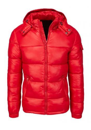 Prošívaná pánská bunda červené barvy na zimu ve slevě