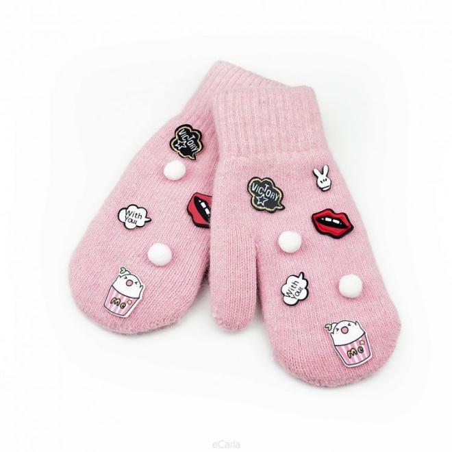 Vlněné dámské rukavice růžové barvy s nášivkami