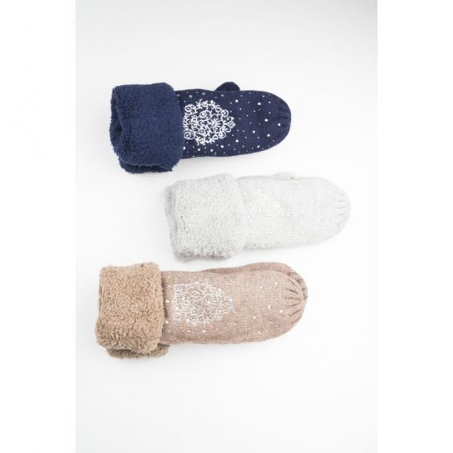 Dámské teplé rukavice s kamínky v hnědé barvě
