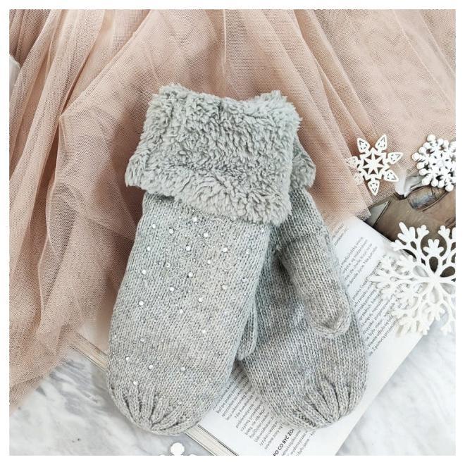 Šedé teplé rukavice s kamínky pro dámy