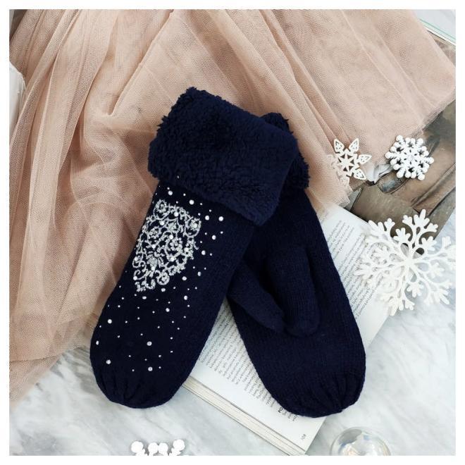 Dámské teplé rukavice s kamínky v tmavě modré barvě