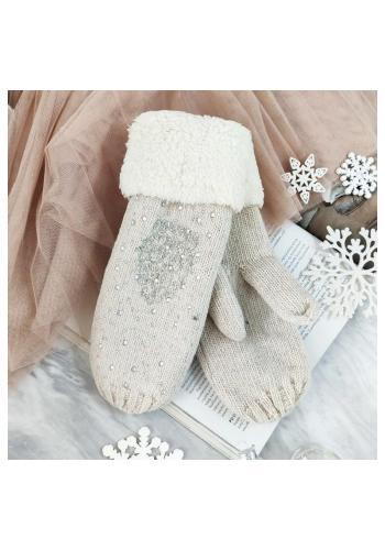 Teplé dámské rukavice béžové barvy s kamínky