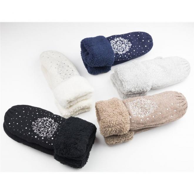Teplé dámské rukavice krémové barvy s kamínky