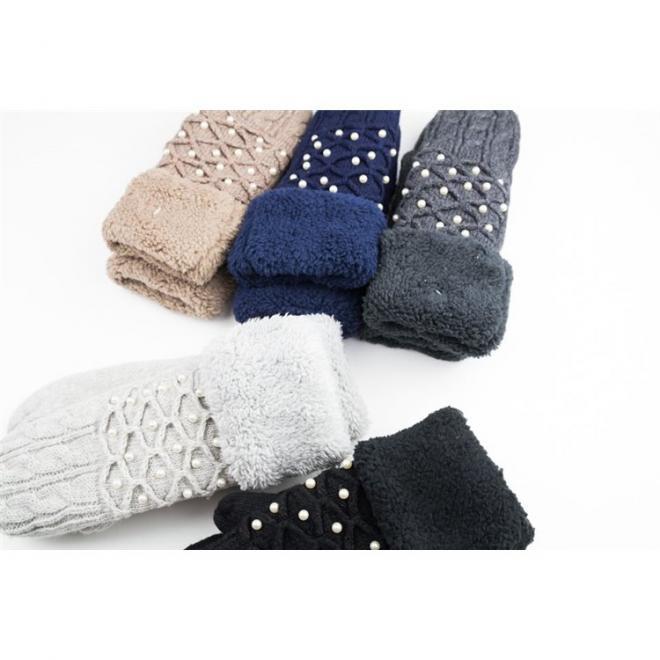 Tmavě šedé teplé rukavice s perlami pro dámy