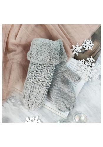 Teplé dámské rukavice šedé barvy s perlami