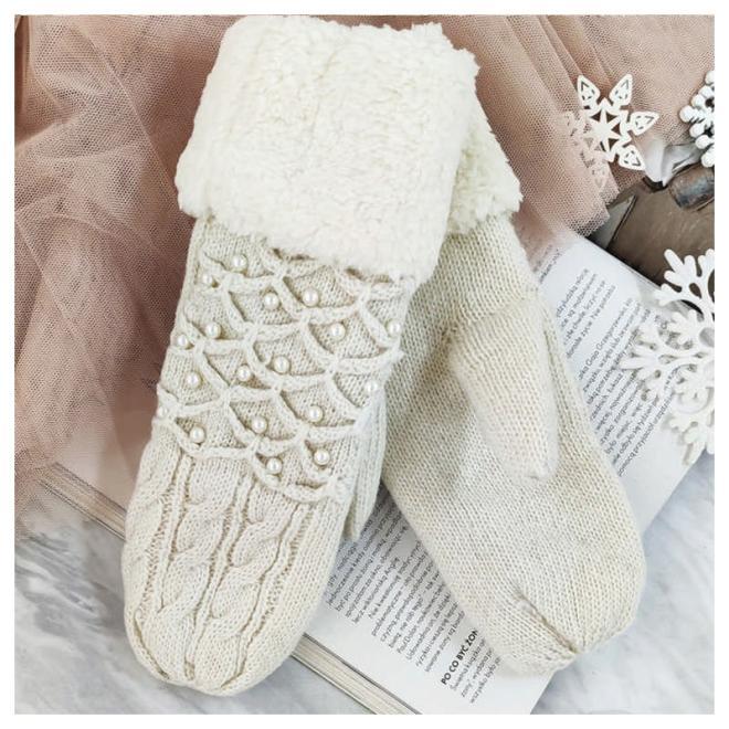 Krémové teplé rukavice s perlami pro dámy