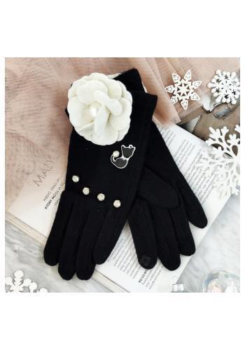 Dámské zimní rukavice s kočkou a květem v černé barvě