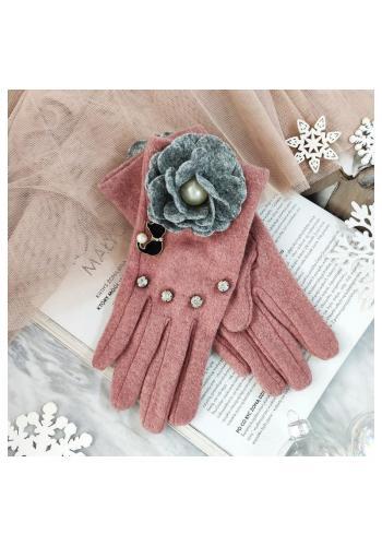Růžové zimní rukavice s kočkou a květem pro dámy