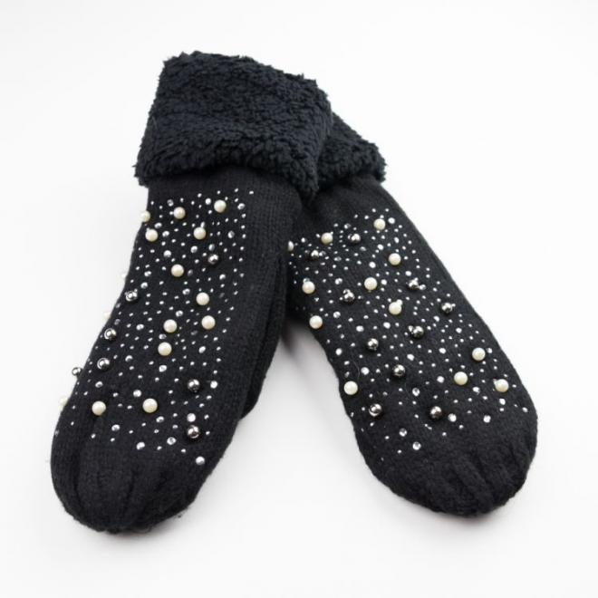 Teplé dámské rukavice černé barvy s perlami a kamínky