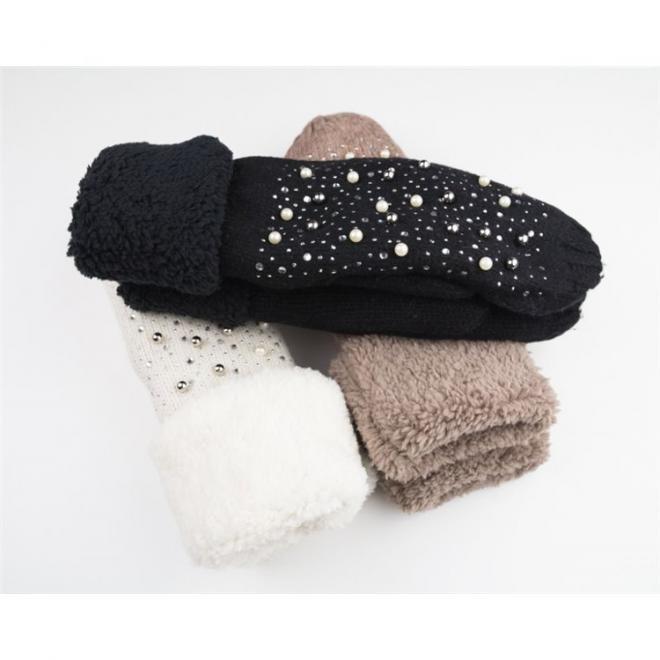 Dámské teplé rukavice s perlami a kamínky v hnědé barvě