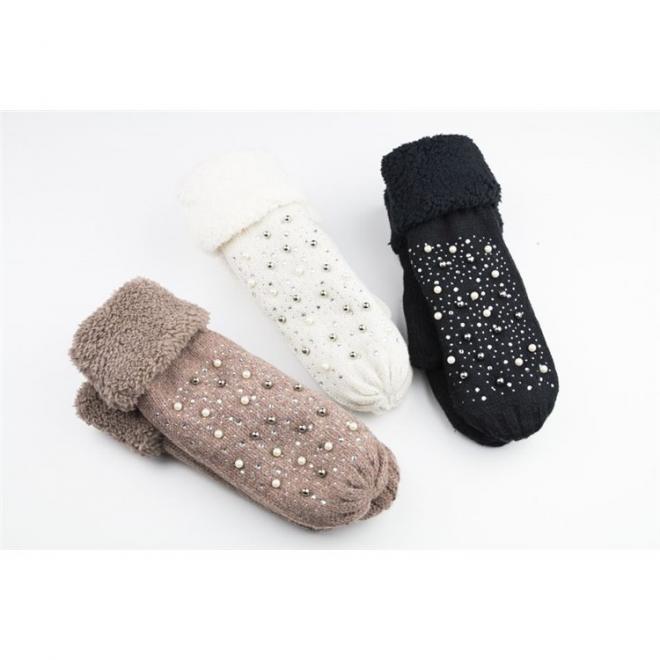 Béžové teplé rukavice s perlami a kamínky pro dámy