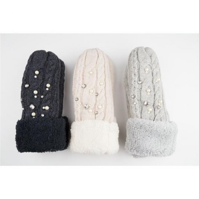 Vlněné dámské rukavice šedé barvy s perlami