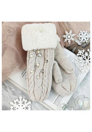 Krémové vlněné rukavice s perlami pro dámy