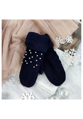 Teplé dámské rukavice tmavě modré barvy s perlami