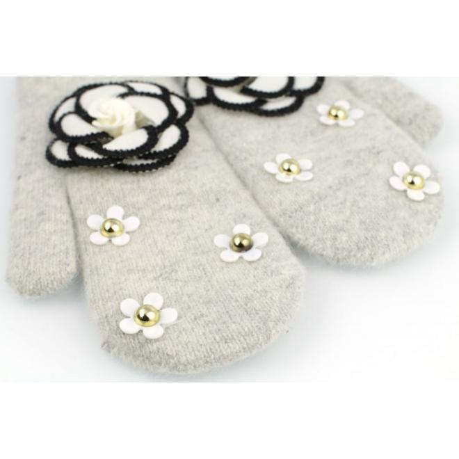 Dámské zimní rukavice s květinami v šedé barvě