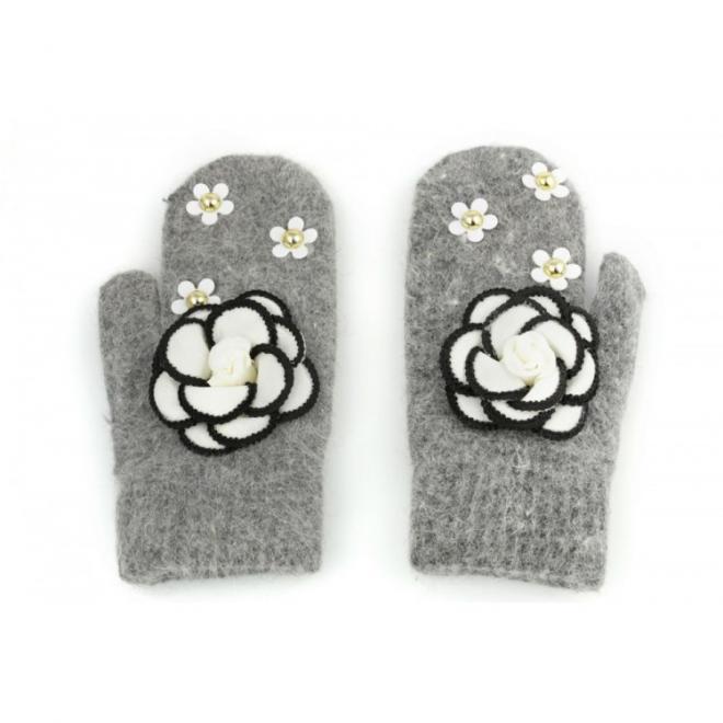 Tmavě šedé zimní rukavice s květinami pro dámy