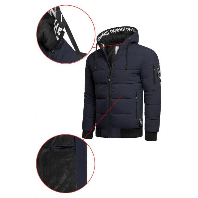 Teplá pánská bunda tmavě modré barvy na zimu