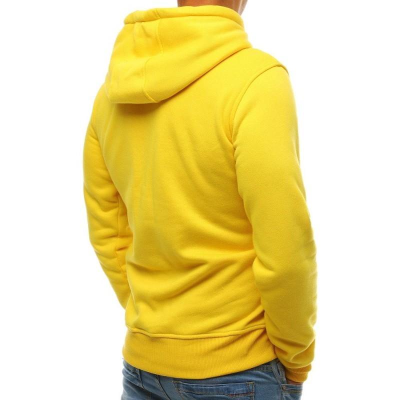 Stylová pánská mikina žluté barvy s kapucí