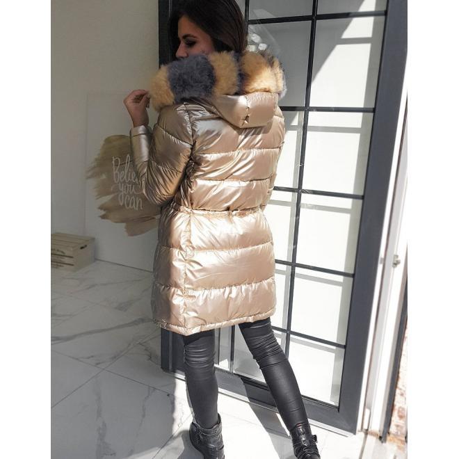 Dámská lesklá bunda na zimu ve zlaté barvě