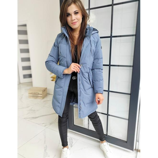 Prošívaná dámská bunda šedé barvy s odepínací kapucí