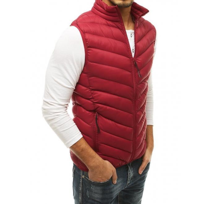 Pánská prošívaná vesta bez kapuce v bordové barvě