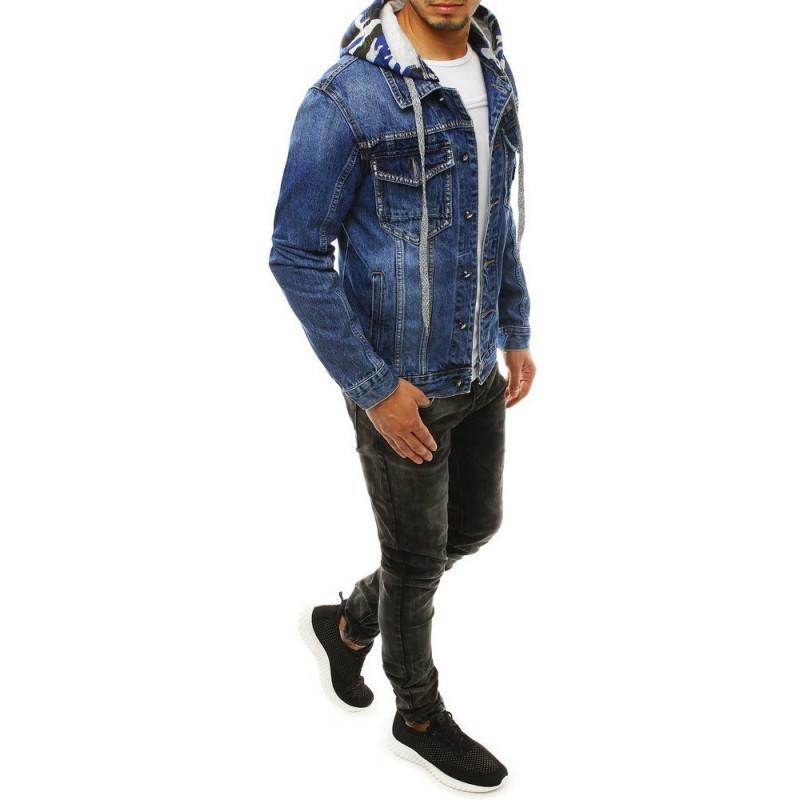 Pánská riflová bunda s odepínací kapucí v modré barvě