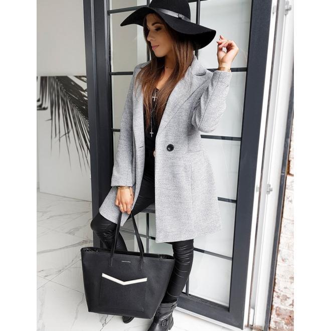 Šedý klasický kabát s knoflíkem pro dámy