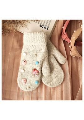 Zimní dámské rukavice šedé barvy s ozdobami