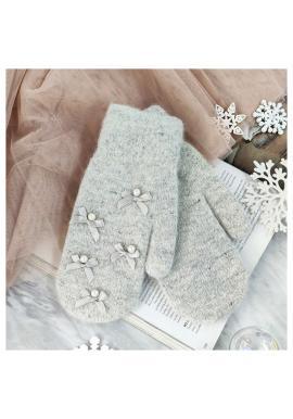 Šedé zimní rukavice s mašlemi pro dámy