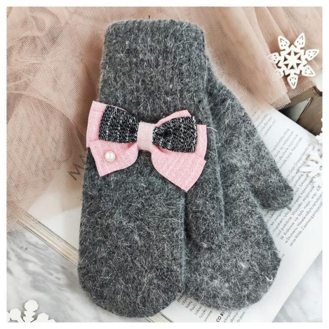 Dámské zimní rukavice s mašlemi v šedé barvě