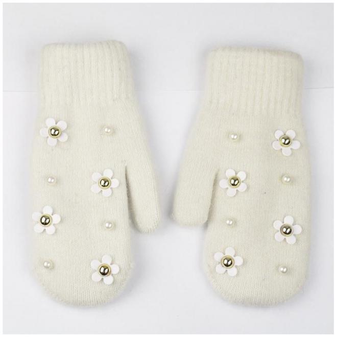 Béžové zimní rukavice s květinami a perlami pro dámy