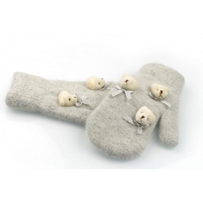 Šedé zimní rukavice s medvědy pro dámy
