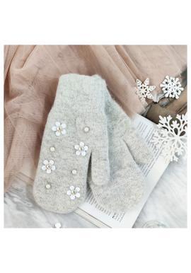 Dámské zimní rukavice s květinami a perlami v šedé barvě