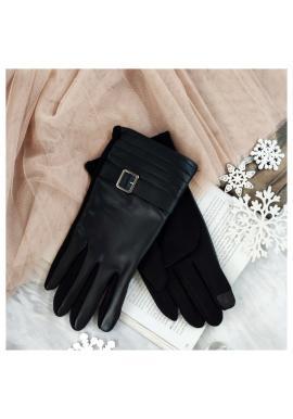 Černé elegantní rukavice z ekokůže pro pány