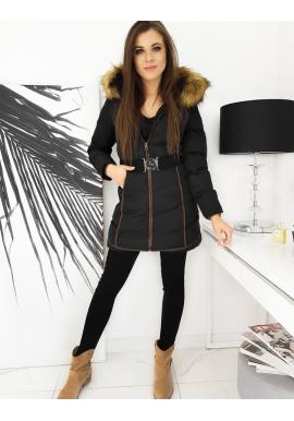 Dámská zimní bunda s páskem v černé barvě