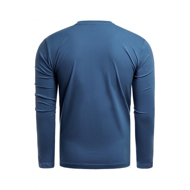 Pánské bavlněné tričko s potiskem v mořské barvě