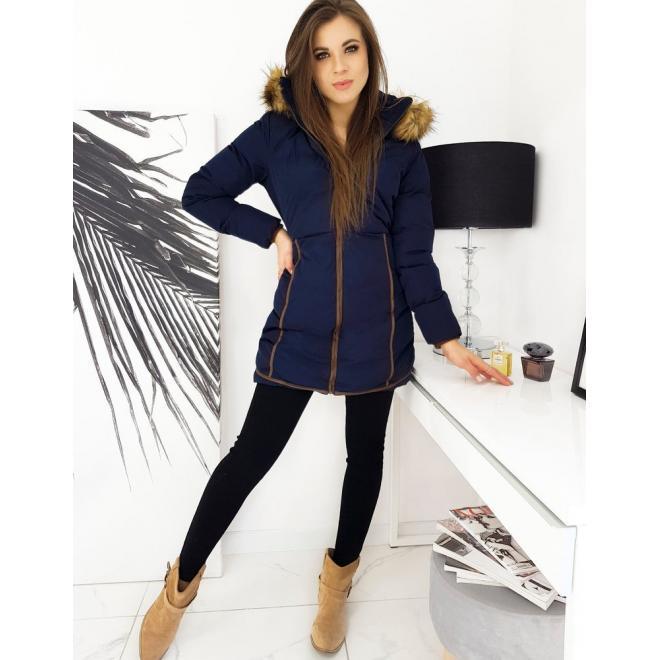 Tmavě modrá zimní bunda s páskem pro dámy